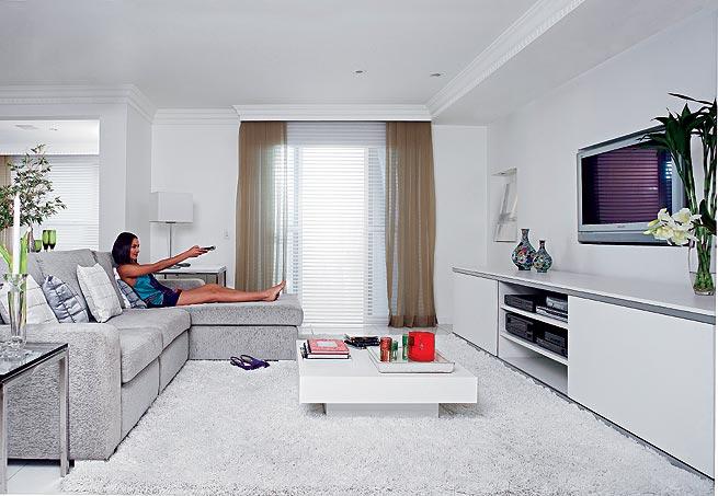decoracao branca sala : decoracao branca sala:Home Theater Sala Com