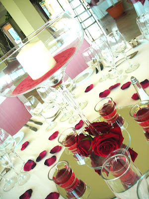 very basic centrepieces included in the price of the wedding package