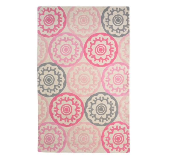 Grey and pink area rug