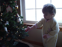 Payton hanging an ornament on the tree