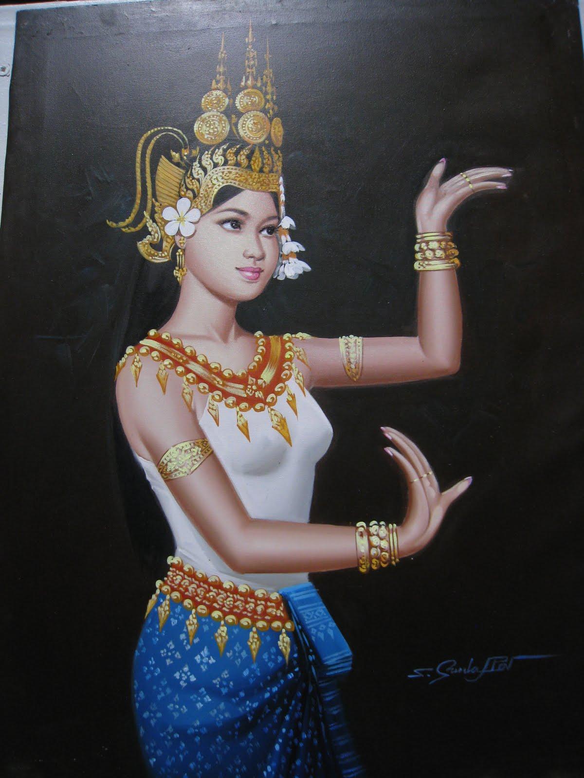 Asian Art Paintings: Original oil painting of Apsara dancer