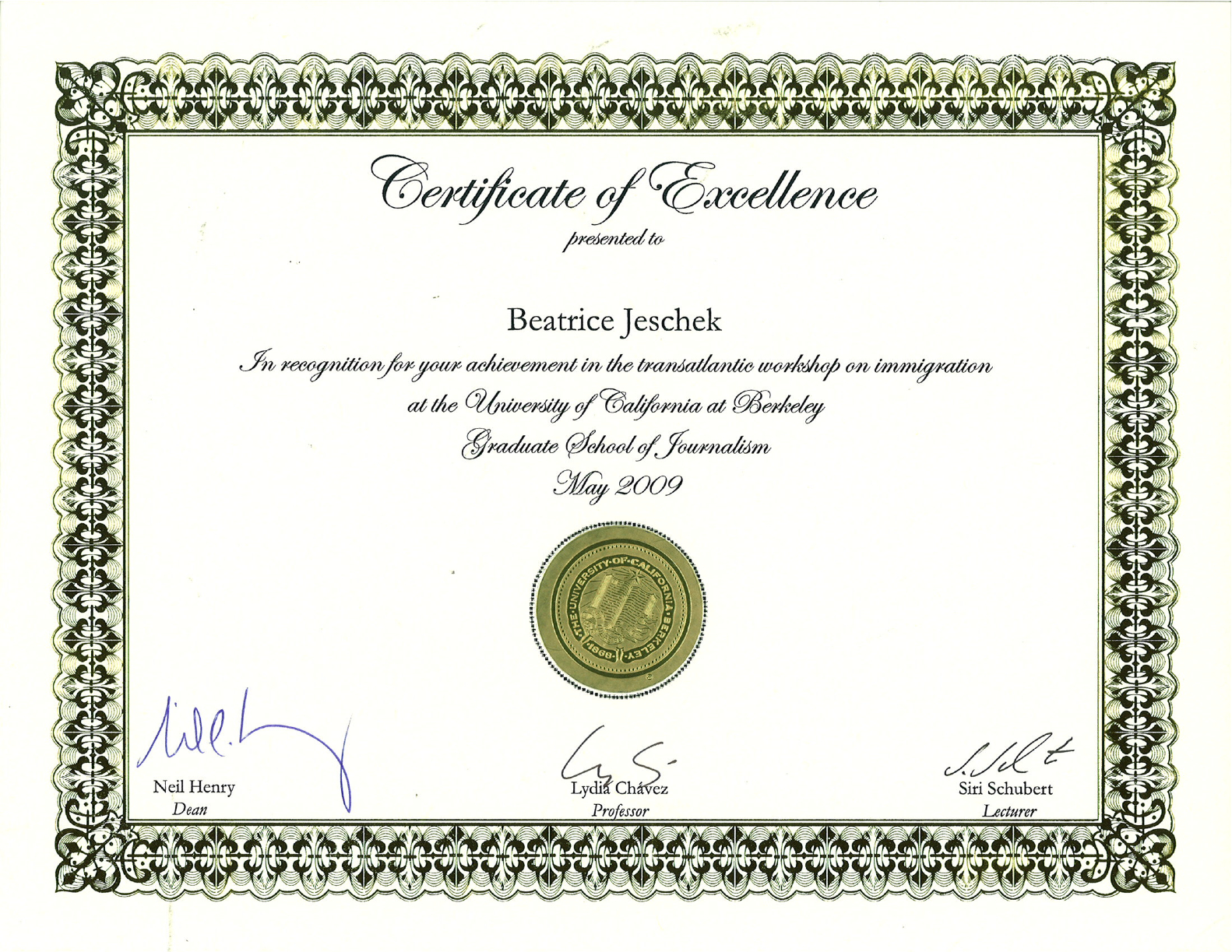 certificate excellence berkeley story