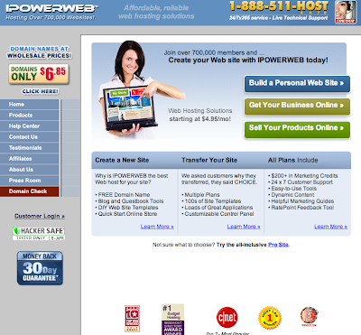 IPOWERWEB Hosting Homepage