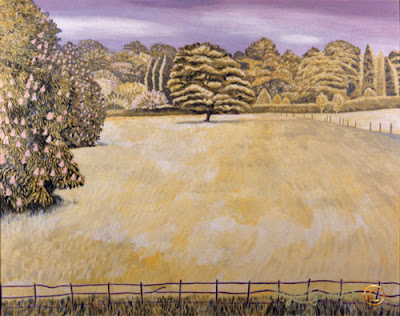 The Meadow Grey Towers Nunthorpe painting in acrylic by Ingrid Sylvestre North East artist Durham artists UK