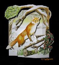 3D Winter Wildlife Christmas Card: 3D Fox Christmas Card