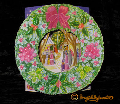 3D Pop up Christmas Cards by UK Artist Ingrid Sylvestre Printed on quality card and die cut to fully pop up - Market Wreath