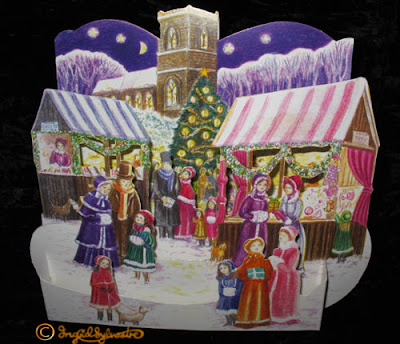 3D Pop up Christmas Cards by UK Artist Ingrid Sylvestre Printed on quality card and die cut to fully pop up - Victorian Market
