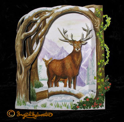 3D Pop up Christmas Cards by UK Artist Ingrid Sylvestre Printed on quality card and die cut to fully pop up - Stag