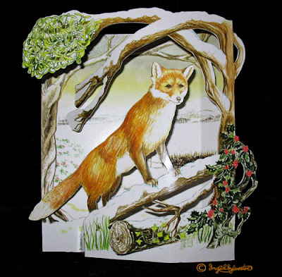 3D Pop up Christmas Cards by UK Artist Ingrid Sylvestre Printed on quality card and die cut to fully pop up - Fox