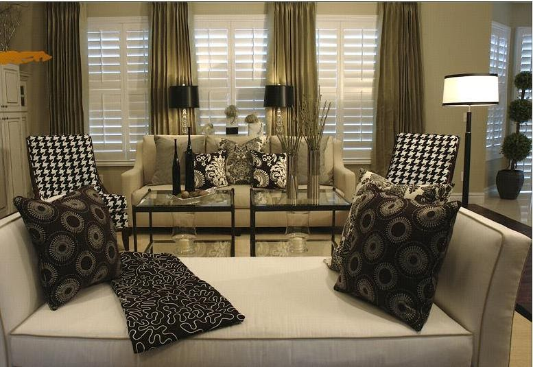 joy of decor decorate with beige sofa black white damask accent black beige living room