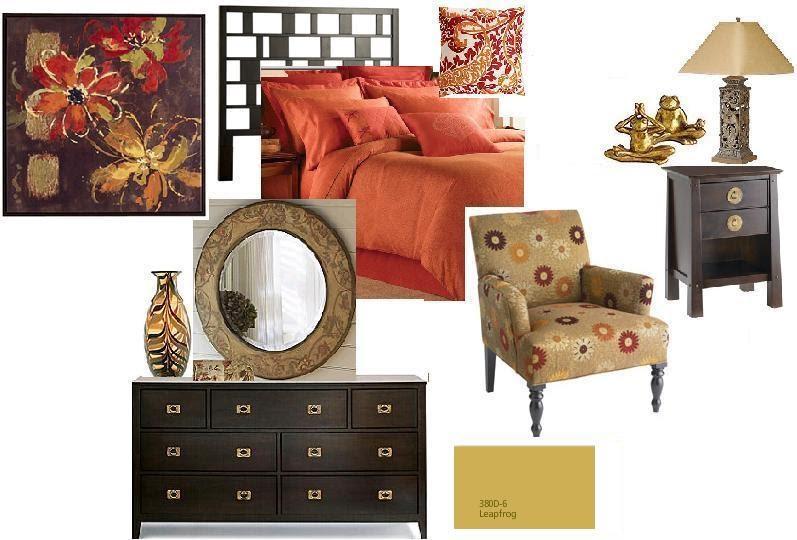 Joy Of Decor Bedroom Color Scheme In Orange Beige And Chocolate Brown
