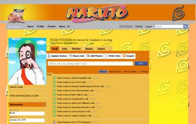 facebook skin layout - theme for facebook with NAruto