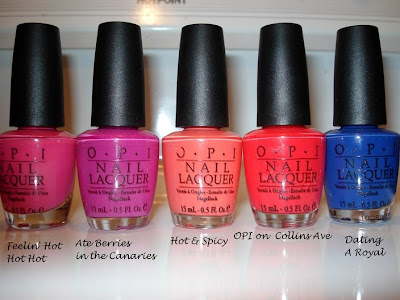 opi feelin hot hot hot, hot and spicy, ate berries, dating a royale, collins ave