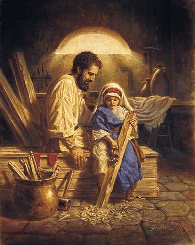 José ensina a arte da carpintaria para seu filho Jesus