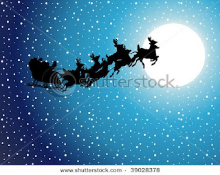 santa reindeers cart stock photos
