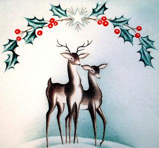 cute reindeers wallpaper for christmas