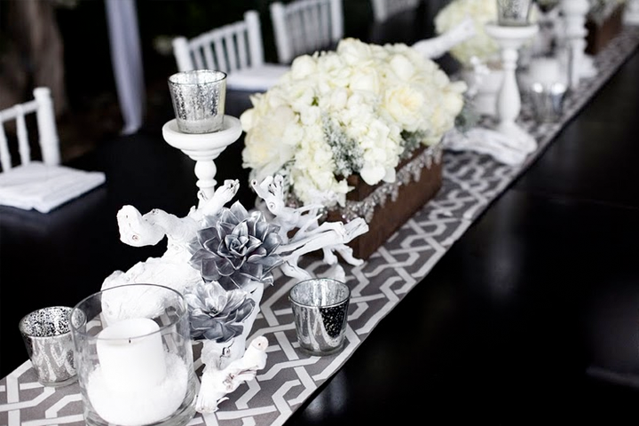 Style code table decor what a way to throw a dinner party for Deco table blanc et gris