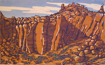Smith Rock 3 Color Woodblock Print