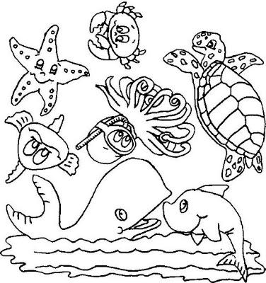 Desenhos para colorir e pintar fundo do mar - Dessin d animaux marins ...