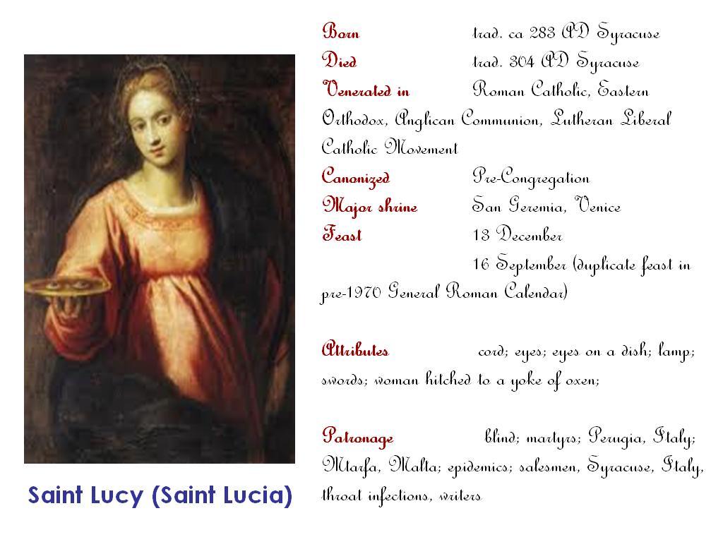 All Saints Saint Lucy Saint Lucia Virgin Martyr