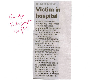 Newspaper clippin tells of another bashing nearby at Umina less than a week later