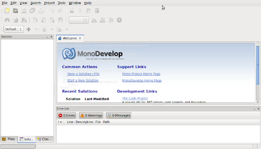 Monodevelop welcome screen