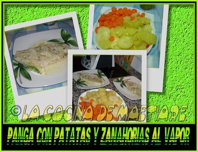 Panga con patatas y zanahorias al vapor Collage2
