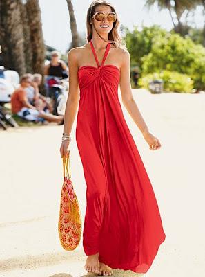 Summer Halter Maxi Dresses 2010 red