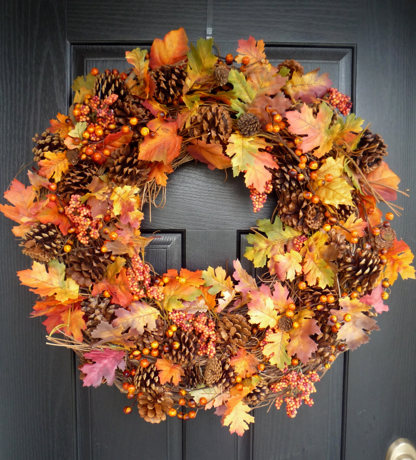 Crafty sisters plump fall wreath for Autumn decoration