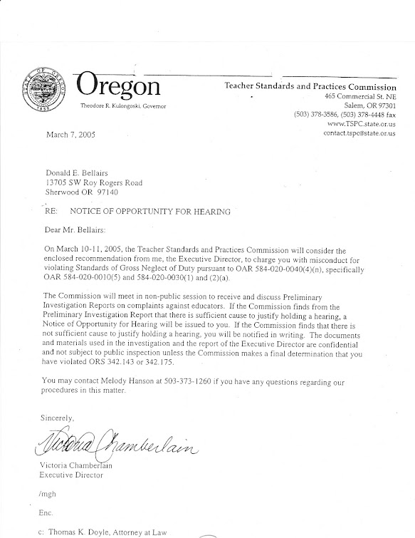 March 2005 letter from TSPC's Chamberlain to teacher