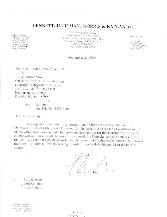 Sept 2005 letter to ALJ Sloan from OEA atty Doyle