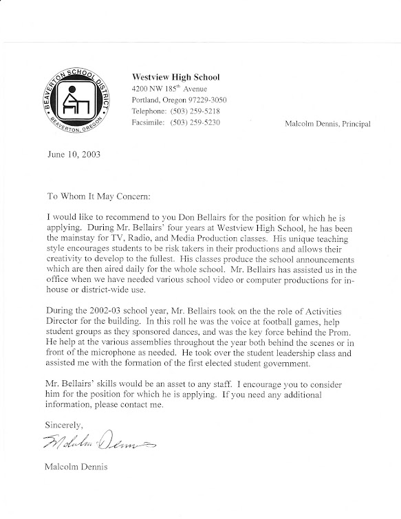 Malcolm Dennis, then-Westview principal, writes recommendation for teacher on June 10, 2003...