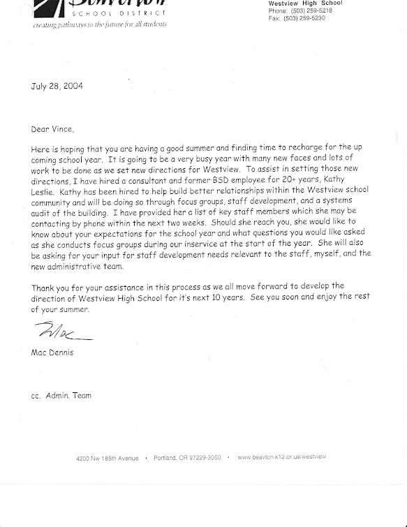 July 2004 letter to Westview staff from Malcolm Dennis, principal