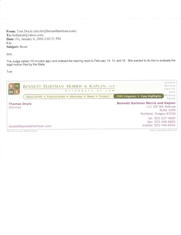 January 2006 email from Doyle informing teacher that ALJ Sloan has cancelled January hearing