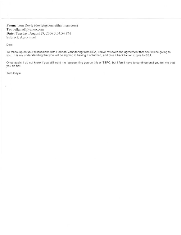August 2006 email from Doyle about a second civil settlement offer