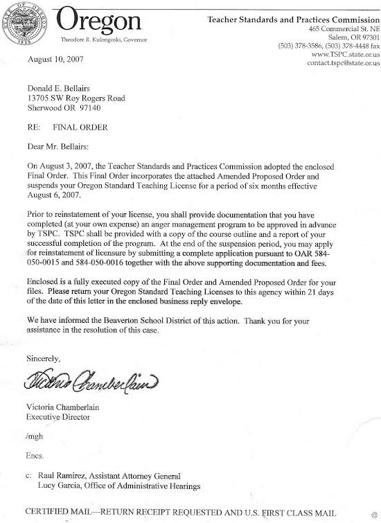 """August 2007 TSPC director Chamberlain's """"Final Order"""""""