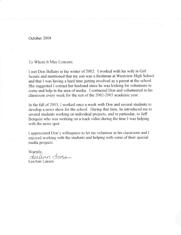 Letter from BSD School Board member LeeAnn Larsen verifying Jeff Borquist's work in Media Studies