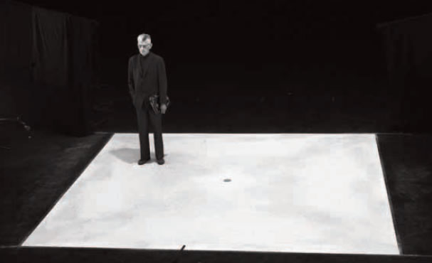 Samuel Beckett on the set of Quadrat.