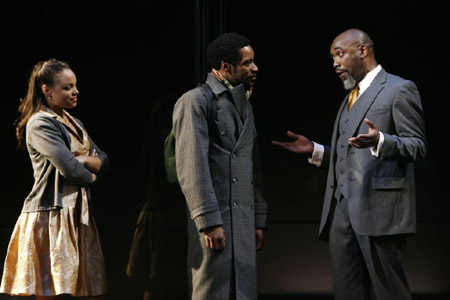 A production of Shakespeare's 'Hamlet': Michelle Beck (Ophelia), Kenajuan Bentley (Laertes) and Robert Jason Jackson (Polonious)