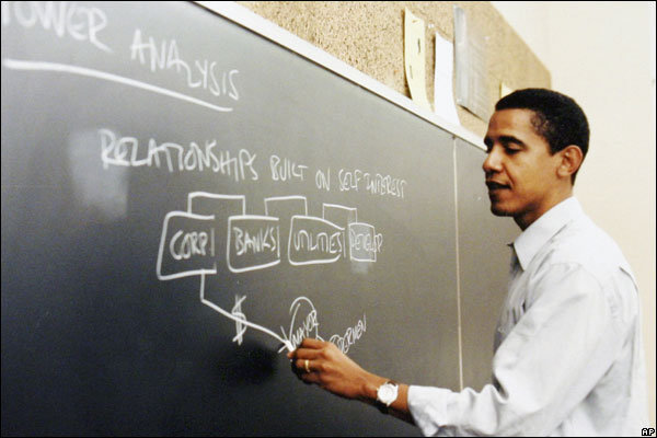 Barack Obama teaching Law at Chicago University