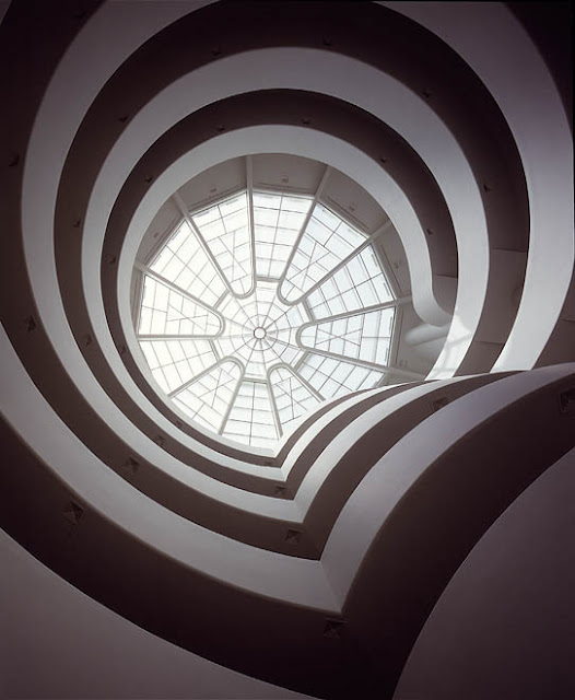 A photograph of the interior of the Guggenheim. Designed  by Frank Lloyd Wright