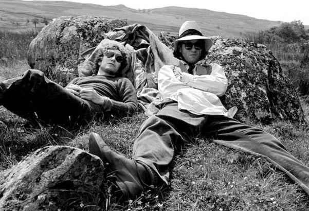 Two go mad in Cumbria: McGann and Grant outside Sleddale Hall. Photograph: Murray Close/Proud Gallery