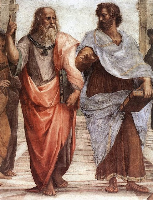 Detail of The School of Athens by Raffaello Sanzio (1509), showing Plato (left) and Aristotle (right)