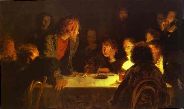 Ilya Repin. The Revolutionary Meeting. 1883. Oil on canvas. The Tretyakov Gallery, Moscow, Russia.