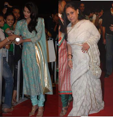 Jaya Bachchan White sari saree Aishwarya Rai Bachchan blue suit Nokia star screen awards