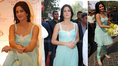 Katrina Kaif Chandan Sparsh Spa opening blue suit