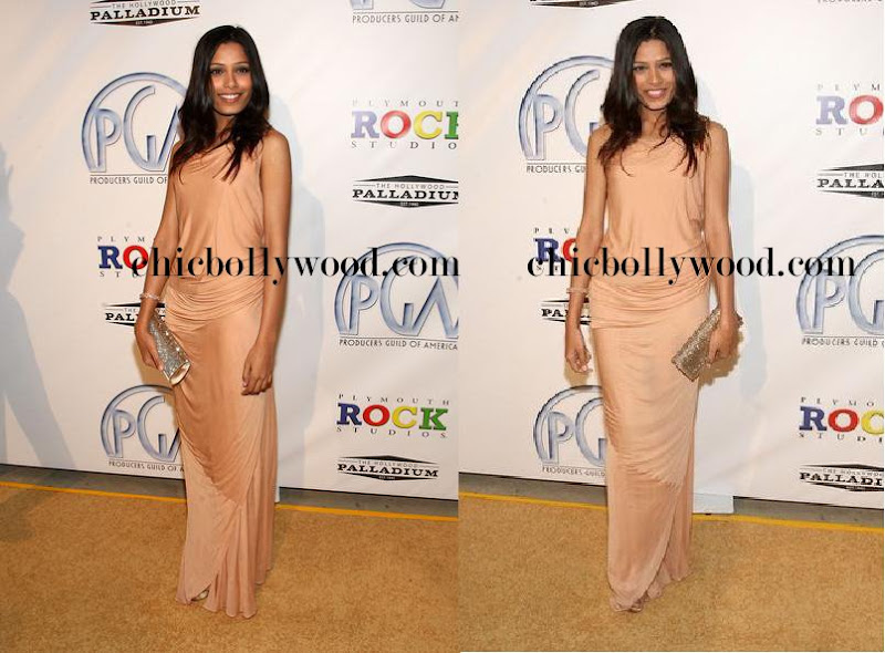 Freida Pinto Peach dress gown Producers Guild Awards Slumdog Millionaire