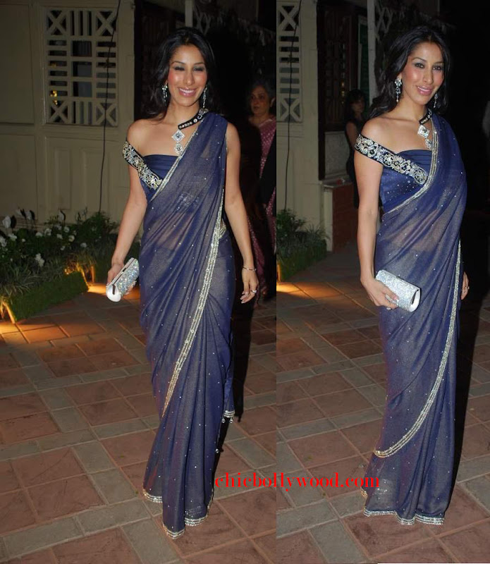 Sophie Chaudhary hinduja Ambika Raman wedding blue saree