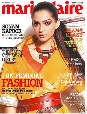 Sonam Kapoor Marie Claire India March 09 covergirl