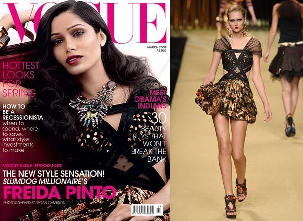 Freida Pinto Louis Vuitton Dress Vogue India March 09 issue